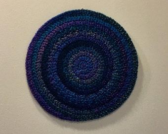 Blue and Purple Crochet Wall Art