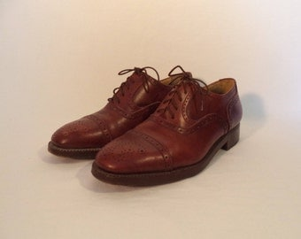 Vintage Cesare Firraro hand made Italian oxfords// Brown leather tie dress designer pointed toe shoes// Men's size 42 Italy 8.5 USA