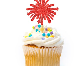 12 CT Firework Cupcake Topper Glitter 4th of July Cupcake Topper Independence Day Cupcake Topper 4th of July Decorations