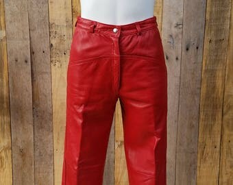 1970s Vera Pelle Distresed Red Leather Pants, Vintage High Waisted Leather Pants, Vera Pelle Red Leather Pants