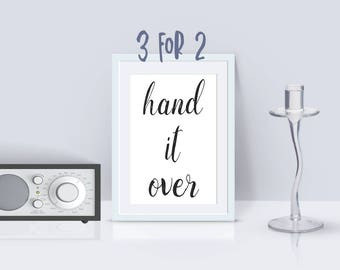 12 step programs quote print, Printable AA Slogan AA Recovery print, Alcoholics Anonymous motto, 'hand it over' 3 for 2, inspirational print