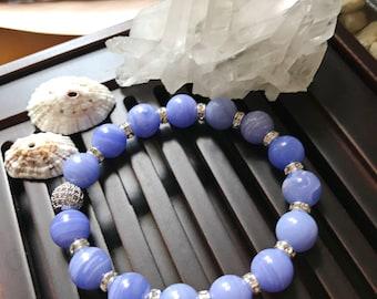 10mm Blue Lace AgateYoga Mala Beaded Bracelet. Healing Natural Gemstone Bracelet. Wrist Mala. Blue Agate Mala. Stretch Bracelet.