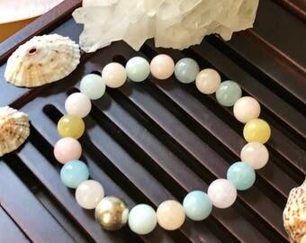 8mm Beryl/ Morganite / Aquamarin / Heliodor Yoga Mala Beaded Bracelet. Multicolor Beryl Healing Natural Gemstone Bracelet. Stretch Bracelet.