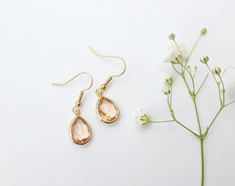 Amber + Gold Glass Teardrop Earrings - Romantic Jewelry - Wedding Jewelry - Bridesmaids Earrings - Bridesmaids Gift- Valentine's Day Gift