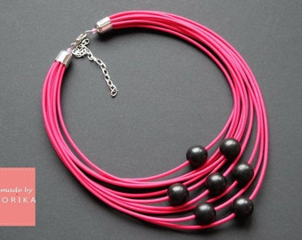 Wood Beads Wooden necklace Wood necklace Black wood beads pink necklace Beaded necklace Black textile necklaces Multi strand beaded jewelry