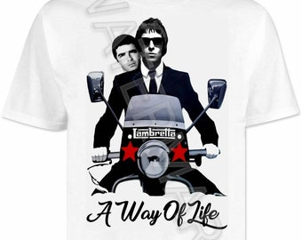 Quadrophenia T shirt / shirts . Oasis . vespa . lambretta mods northern soul scooter scene liam noel gallagher