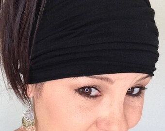 Scrunch headband.  Black headband.  Boho headband.  Accessories. women's headband