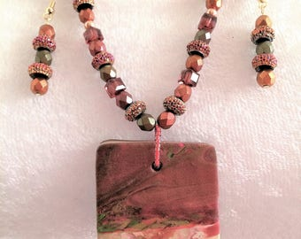 Copper Necklace - Polymer Clay Necklace - Chunky Necklace - Beaded Necklace - Stylish Necklace - Fashion Necklace - Gift for Her - Artisan
