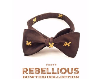 Fleur de Lis Bow tie; Bow Tie for Men;Self Tie  Bow Tie; Brown Silk,