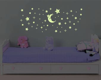 Glow in the Dark Moon and Stars 57 pcs, Wall Decal Sticker - 1403