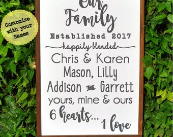 Wedding Gift for Blended Family Name Sign Wood, Custom Wedding Gift, Family Established Sign, New Home Housewarming Gift, 18x24