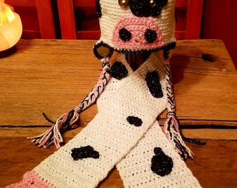 Crochet Cow Hat and Udder Scarf Set