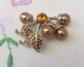 Vintage Acorn Brooch, Silver and Amber Colour