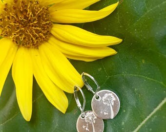 Charming Sterling Dandelion Earrings