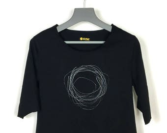 Black T-Shirt 100% cotton, motive in silver