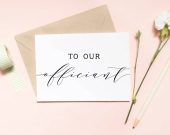 to our officiant card, thank you officiant card, officiant card, to our officiant, wedding day card / SKU: LNWD02