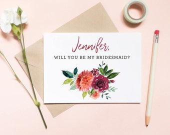 Customized Will You Be My Bridesmaid Card, Maid of honor proposal card, Floral card, bouquet card, watercolor floral / SKU: LNBM19