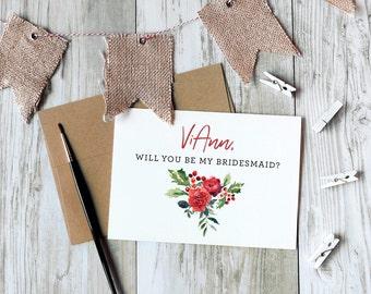 Will you be my bridesmaid card, christmas bridesmaid proposal, maid of honor, matron, proposal holiday card / SKU: LNBM22