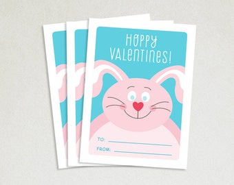 Personalized Valentines Card - School valentines - Cute valentines - Kids valentine cards - Valentine card sets - Hoppy Valentines - Bunny