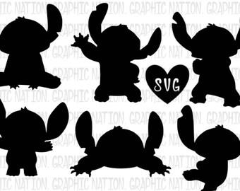 Stitch Silhouette, Disney, Lilo & Stitch, SVG Files