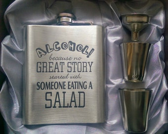 Great Story Eating Salad Luxury Flask // Engraved Flask // His Gift  // Fun Flask // Party Favor // Men Flask // 21st Birthday Gift // 7 oz