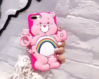 3D Care Bear iPhone jelly case with strap, unique iPhone case, pink purple green blue yellow case, iPhone 6/6S Plus 7 Plus 8 plus silicon