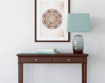 MANDALA ART PRINT Large Mandala Wall Art Boho Style Brown Beige