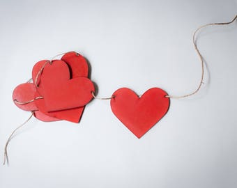 Garland of hearts. Party decoration. Birthday decoration. Wedding decoration. Love Gift. Red hearts.
