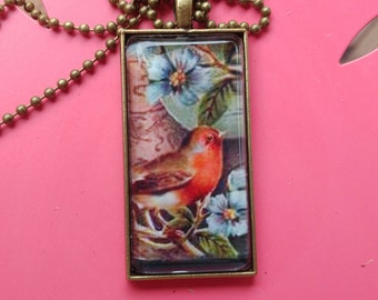 ROBIN Pendant Necklace BIRD Chain Necklace Antique Bronze