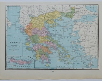 1934 Vintage Greece Map - Crete - Antique Europe Map - Old Maps - Greek Islands - Mediterranean - Print - Vintage Cottage Decor - 1/AG297