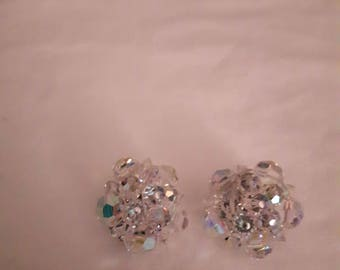 Vintage Silver Tone - Aurora Borealis Glass Cluster Earrings - Clip-on - 1950s