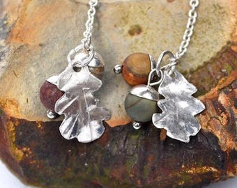 Handmade Acorn and Stirling Silver Oak Leaf Earrings.