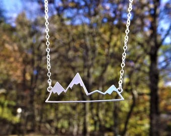 Mountain Bar Necklace - Sterling Silver Mountain - Mountain Charm - Moutain Silhouette - Sterling Mountain Landscape