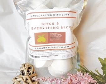 Aromatherapy Shower Steamer/Melt 10 Pack, Spice & Everything Nice, immune boost, Mother's day, gift for him, made with love, time saver