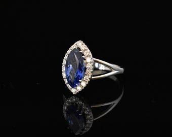 2.5Ct. Sapphire 18k White Gold Ring