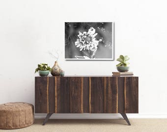 Gift For Wife Art Print, White Flower Wall Decor, Floral Paper Poster, Modern Botanical Art Print, White Flower Poster, Large Paper Poster