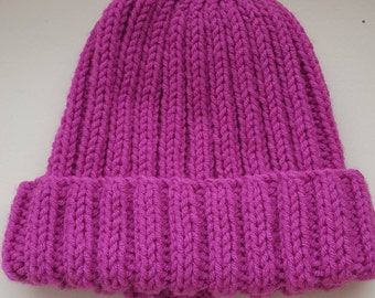 Adult's Beanie hat, Designed, Hand knitted, Pink Aran style yarn, Rib pattern, Pretty Pink hat, Handmade, Gift, Treat, Warm/Cosy/Comfy.