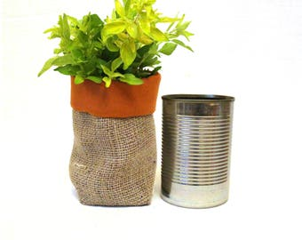 Upcycled Tin Can Hessian Planter. Reversible Fabric Planter, Rustic Storage Pot Bag, Shabby Chic Burlap Pot Cover, Soft Storage Bag