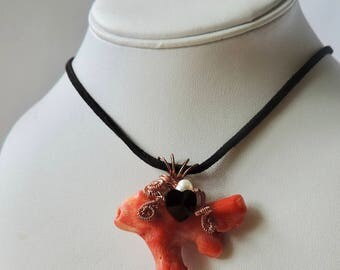 Pendant/necklace/wire wrapped coral pendant