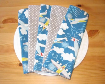 Airplane Lunchbox Napkins (Set of 5) | Airplane Napkins, Cloth Napkins, Lunchbox Napkins, Ecofriendly Napkins, Reusable Napkins, Reversible