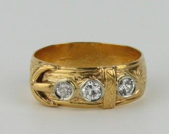 Late 19th C Diamond Studded Belt or Buckle Ring