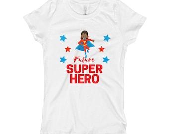 Girl's Future Super Hero African American Black Superhero T Shirt