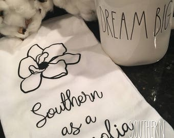 Southern as a Magnolia Flour Sack Towel   Magnolia Tea Towel   Magnolia Kitchen Towel