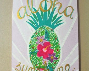 Pineapple Painting - Aloha Sunshine
