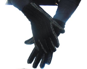 Crochet black gloves, Winter Gloves, Gloves, Wool gloves, Gloves, Knit Gloves, Warm gloves, Hand knit gloves, Gift for mom, Gift for women