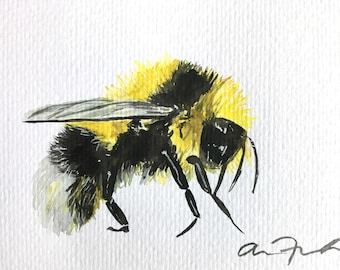 Bumblebee Watercolor Painting 4 x 6 Postcard Original Art