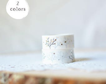 Metallic Gold Silver Holiday Christmas Tree Branch Simple Cute Wide Thick Washi Masking Tape - Pretty Shiny Foil Washi Tape for Packaging