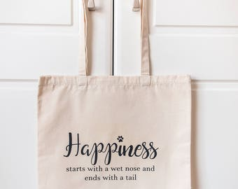 Dog Tote Bag | Natural Canvas Tote Bag | Dog Lover Bag | Dog Lover Gift | Happiness starts with a wet nose | Dog Shopping Bag | Tote Bag |