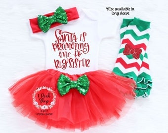 Santa Is Promoting Me To Big Sister, Christmas Pregnancy Announcement, I'm Going to be a BIG Sister, Christmas Big sister Shirt, Big Sister