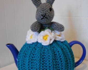 RABBIT teapot cosy/ Knitted teapot cosy/ Handmade teapot cosy/ Handmade teapot cozy